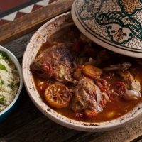 Sweet chicken tagine with minted couscous