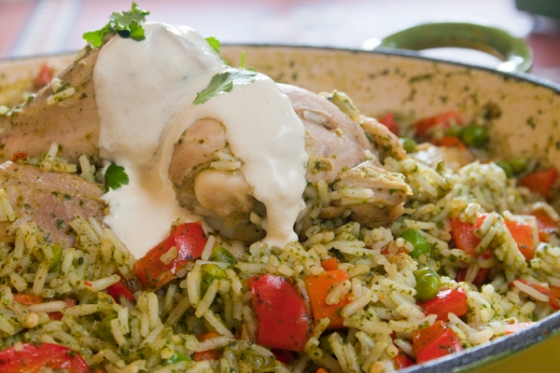 Chicken with coriander and spinach rice with cumin-spiced yoghurt