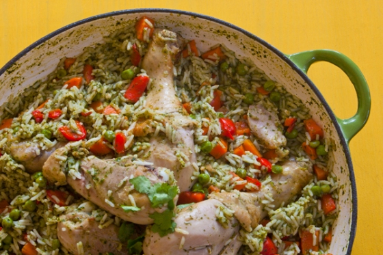 Chicken with coriander and spinach rice
