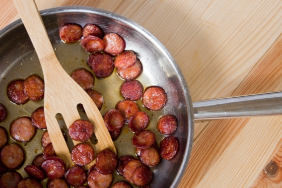 crispy and golden chorizo