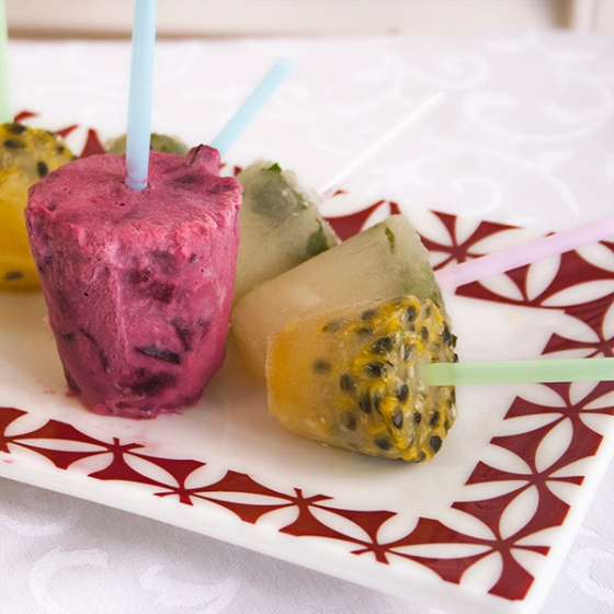 Lemon and mint, passion fruit and creamy cherry ice-lollies