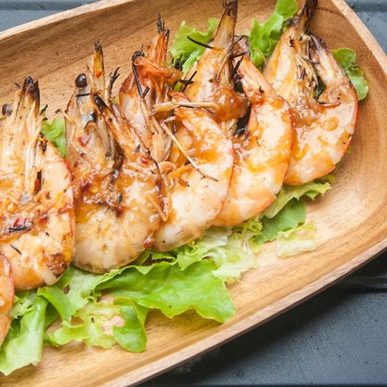 Barbequed prawns