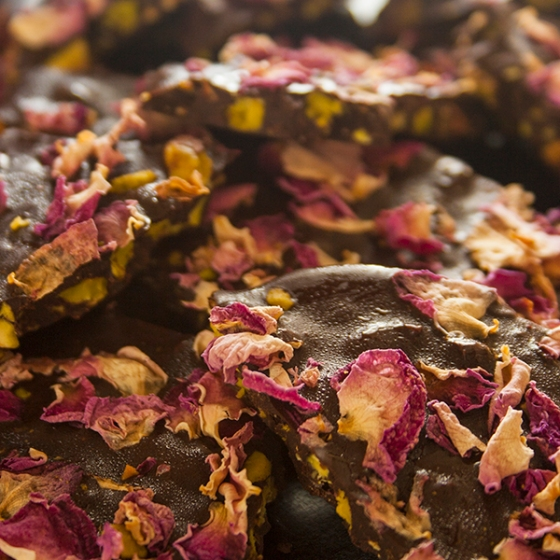 Rose, pistachio and cardamom chocolate bark