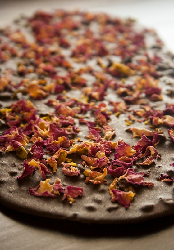 Rose, pistachio & cardamom chocolate bark