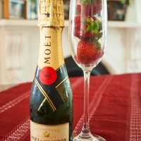 Champagne and strawberry celebration sorbet